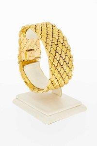 18 karaat geel gouden brede Fantasie schakelarmband - 19 cm