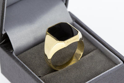 14 karaat gouden Zegelring (8 hoekig) gezet met Onyx