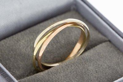 14 Karaat tricolor gouden 3 in 1 CARTIER STYLE Trinity ring