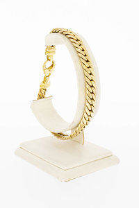 14 Karaat gouden gewalste Gourmet armband - 22 cm