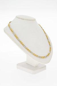 18 Karaat bicolor gouden Gourmet schakel Collier - 48 cm