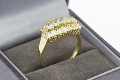 14 Karaat gouden Markies ring met Zirkonia - 19,9 mm