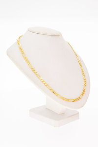 18 Karaat geel gouden Figaro schakel Collier - 45,8 cm