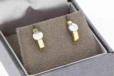 14 Karaat bi- color gouden Oorstekers met Diamant