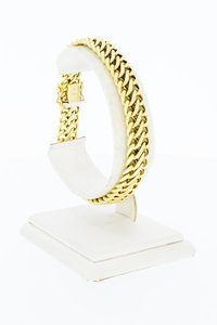 14 Karaat geel gouden gevlochten schakel armband - 20 cm