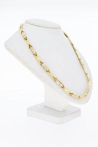 14 Karaat bicolor gouden Staafjes schakel Collier - 41,9 cm