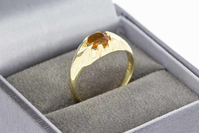 14 Karaat geel gouden Solitair ring gezet Madeira Citrien