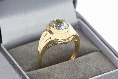 14 Karaat geel gouden Markies ring met Aquamarijn (17,4)