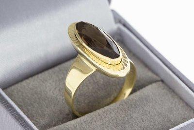 14 Karaat geel gouden Markies ring gezet met Rookkwarts