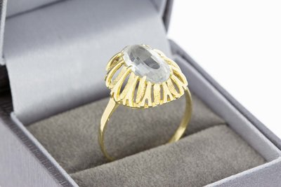 14 Karaat gouden Markies ring gezet met blauwe Aquamarijn