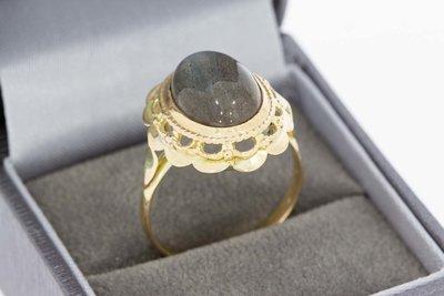 14 Karaat geel gouden Vintage ring gezet met Labradoriet