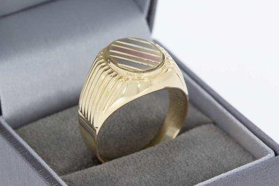 14 Karaat tricolor gouden Statement ring (bewerkte schouders)