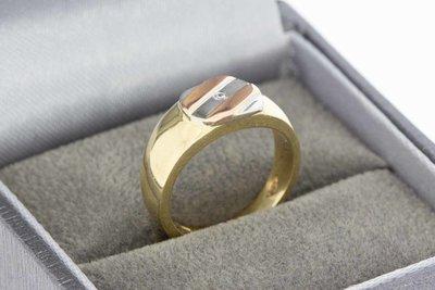 14 Karaat tri- color gouden Pinkring gezet met Zirkonia