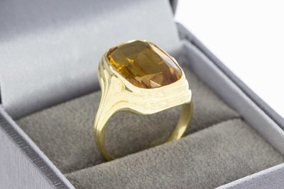 14 Karaat gouden Vintage Markies ring gezet met Citrien