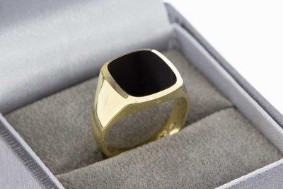 14 Karaat geel gouden Pinkring gezet met Onyx - 16,3 mm