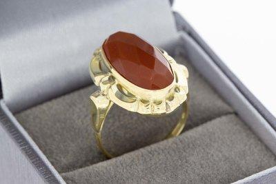 14 Karaat geel gouden Vintage Markies ring met Carneool