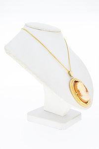 14 Karaat geel gouden vintage schelp Camee ketting hanger