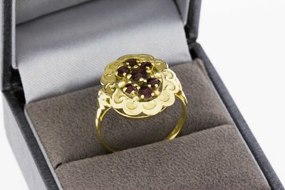 14 karaat Gouden Entourage Ring met Granaat (18 mm)