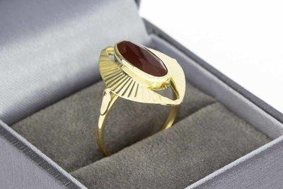 14 Karaat gouden Vintage ring met Granaat - 17,9 mm