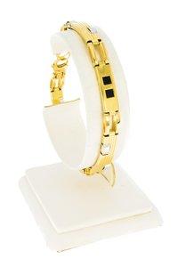 14 Karaat gouden Schakelarmband gezet met Onyx -20 cm