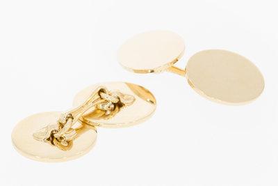 14 karaat geel gouden ovale Manchetknopen