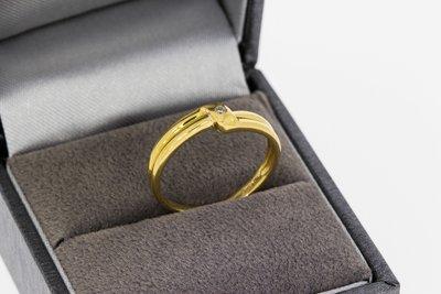 18 karaat geel gouden Slagring gezet met Diamant - 17,2