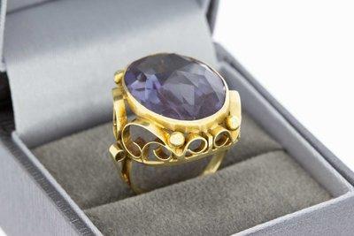 14 Karaat geel gouden Markies ring met Amethist