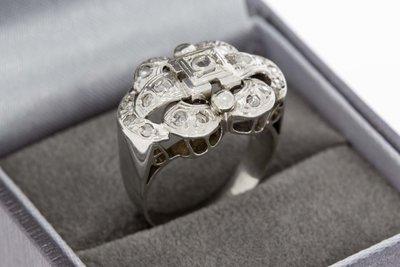18 Karaat witgouden Statement ring gezet met Diamant