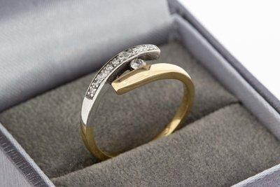14 Karaat bicolor gouden Slagring met Diamant (0.15 crt)