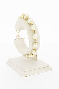 14 Karaat geel gouden Cultivé Parel schakelarmband- 19 cm