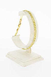 14 Karaat geel gouden Figaro schakelarmband - 21,3 cm