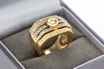 14 Karaat geel gouden Bandring gezet met Diamant-0.74 crt