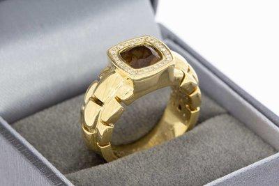18 Karaat gouden Tirisi Solitair ring met Topaas en Diamant