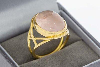 18 Karaat gouden Markies ring gezet met Rozenkwarts - 18,2