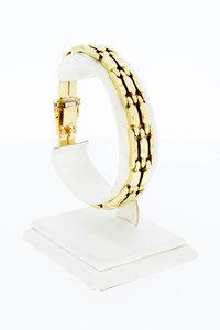 14 Karaat geel gouden Staafjes schakel armband - 19,5 cm