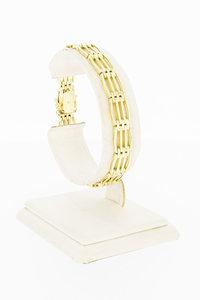 14 Karaat geel gouden Staafjes schakel armband - 19 cm