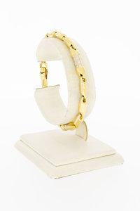 18 Karaat bicolor gouden Staafjes schakelarmband -19,2 cm