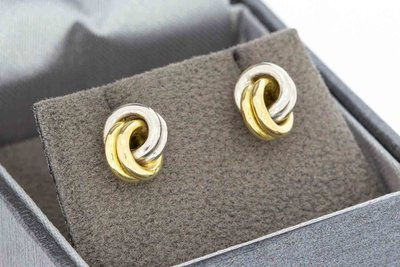 14 Karaat bicolor gouden Knoop Oorstekers