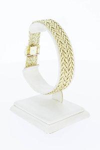 14 Karaat gouden gevlochten schakelarmband - 19,9 cm