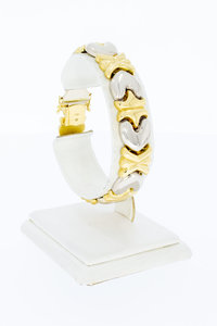 18 Karaat bicolor gouden hartjes schakelarmband - 18,5 cm