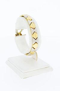 18 Karaat bicolor gouden Fantasie schakelarmband - 18,5 cm