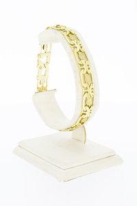 14 Karaat geel gouden fantasie Staafjes armband - 19,8 cm
