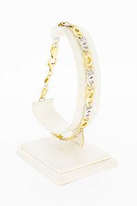 14 Karaat bicolor gouden Valkoog schakelarmband - 23,4 cm