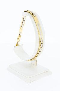 18 Karaat bicolor gouden Plaatjes schakelarmband - 22 cm