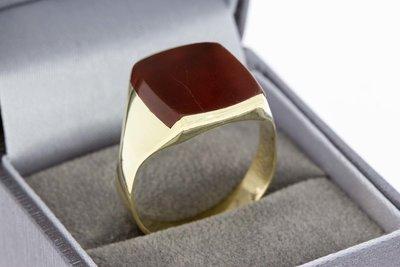 14 Karaat gouden Zegelring ring met Carneool (21,1 mm)