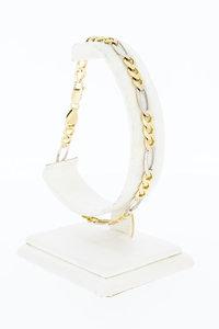 14 Karaat bicolor gouden Figaro schakelarmband - 22,3 cm