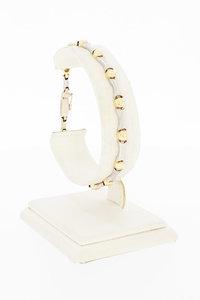 14 Karaat bicolor gouden Bolletje Staafje armband- 19,4 cm