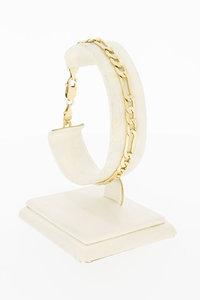 14 Karaat geel gouden Figaro schakelarmband - 19,8 cm