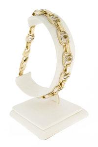 14 Karaat bicolor gouden Konings schakelarmband- 23,5 cm