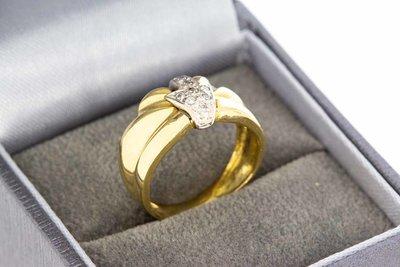 18 karaat bicolor gouden ring gezet met Diamant - 16,5 mm